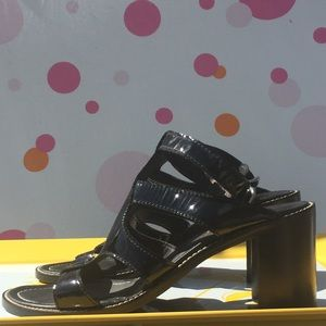 Donald J Pliner Caren Black Patent Leather Sandals